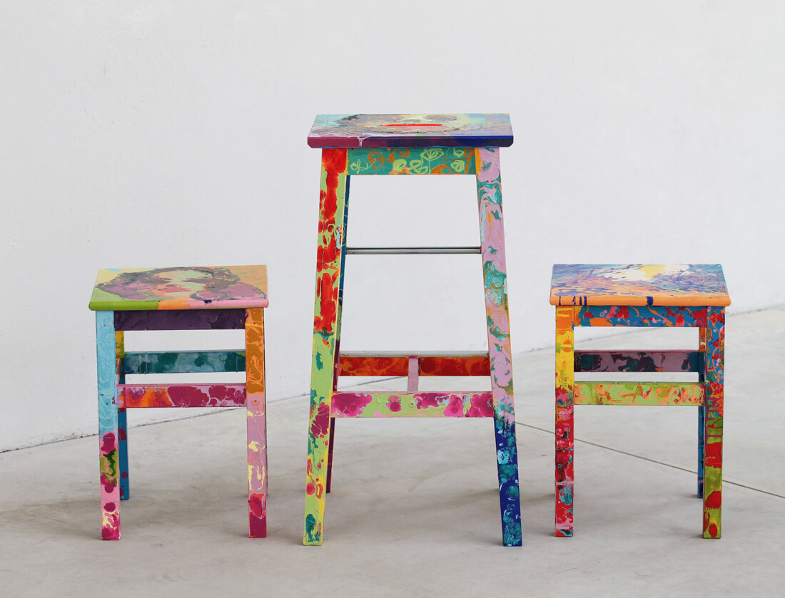 Cristina Lefter honors Jackson Pollock with her Dripping Stools