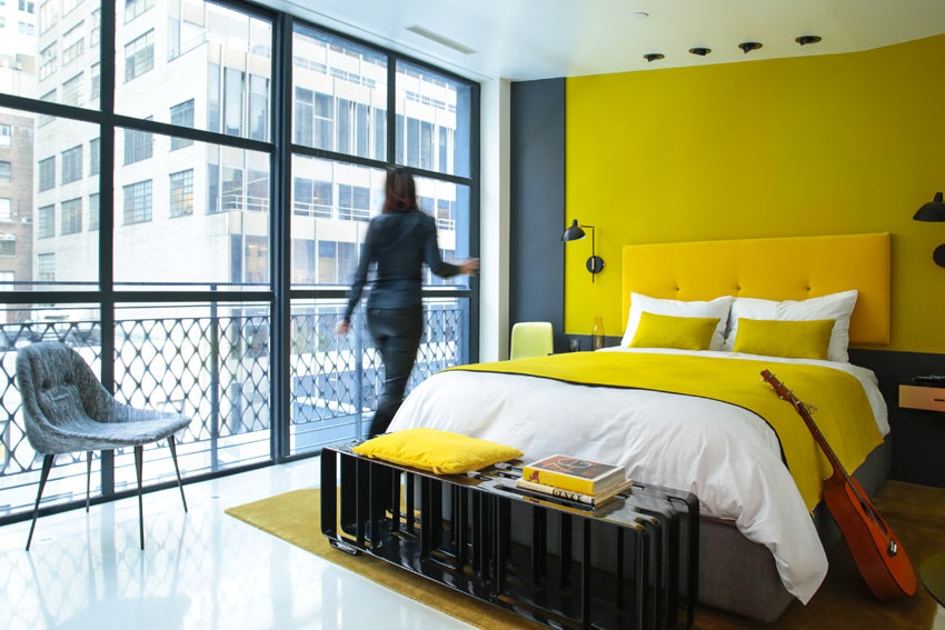 William nyc designer hotel with a boost of color for Hotel design color
