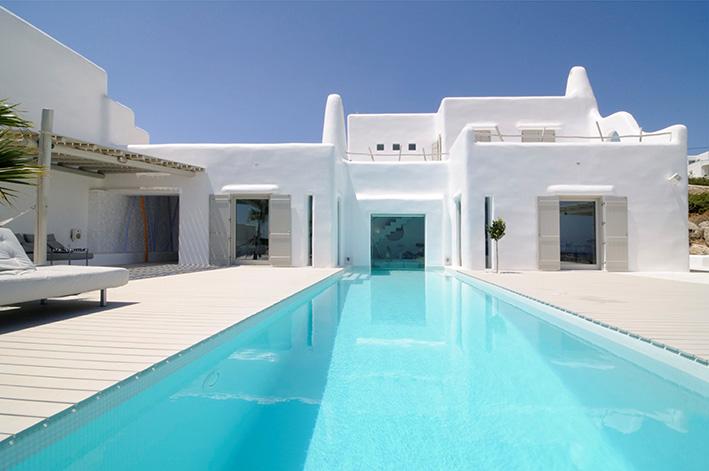 Un acquerello nelle cicladi la villa di alexandros for Progetti di piscine e pool house