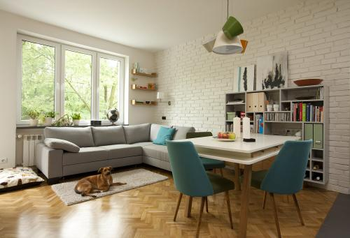 small apartment for the lady and her dog