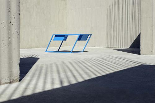 60 Blue Table By XYZ Integrated Architecture