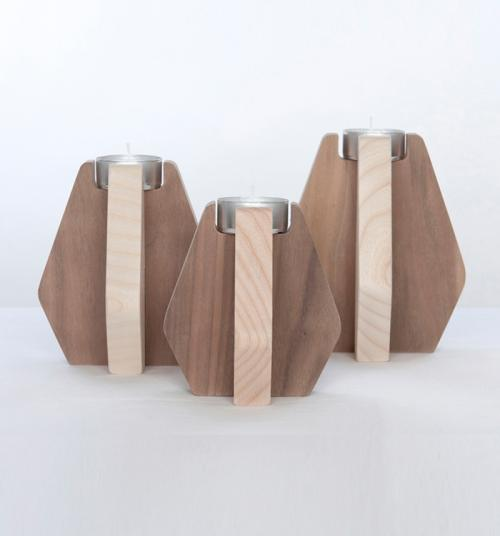 Nordik candleholder ash and walnut