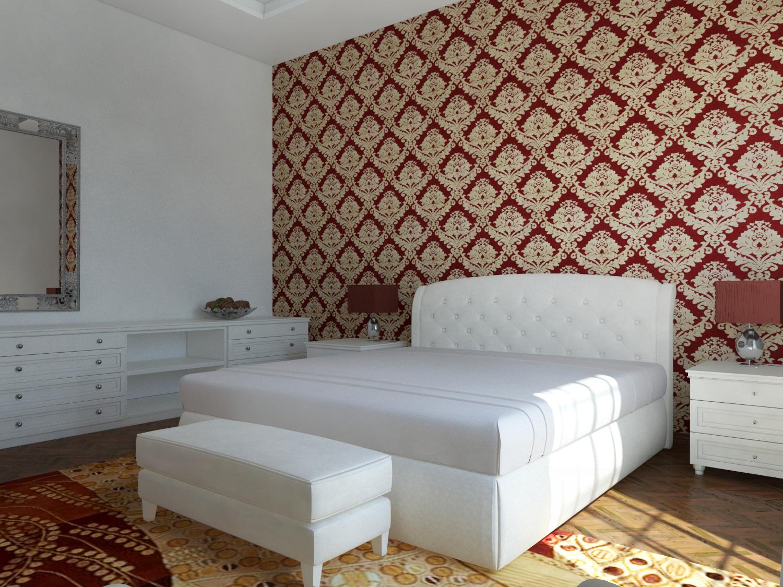 Un interno classico a latina - Camera da letto con carta da parati ...