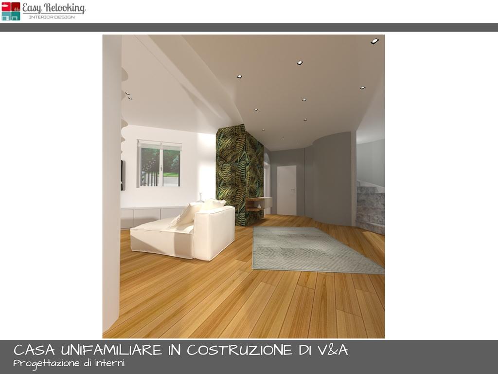 Progettazione interni casa unifamiliare soggiorno e cucina for Idee ingresso casa moderna