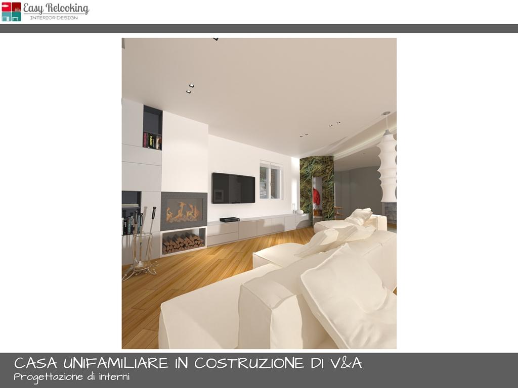 Progettazione interni casa unifamiliare soggiorno e cucina - Progetto cucina soggiorno ...