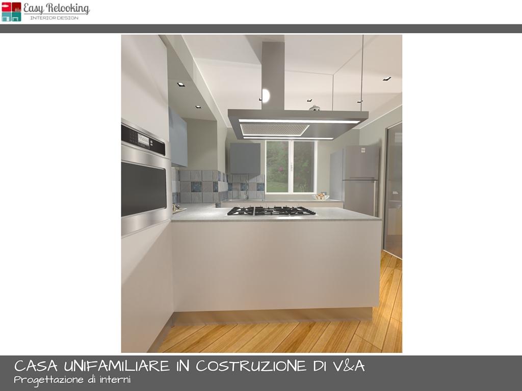 progettazione interni casa unifamiliare soggiorno e cucina