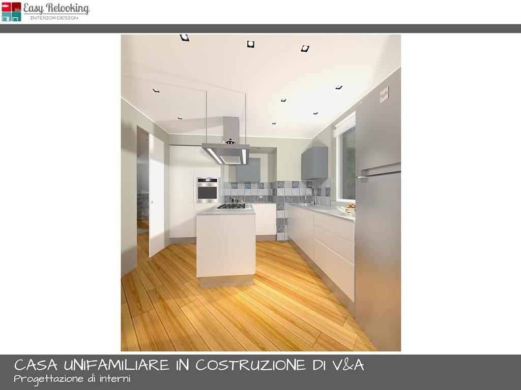 Progettazione interni casa unifamiliare soggiorno e cucina for Progettazione esterni