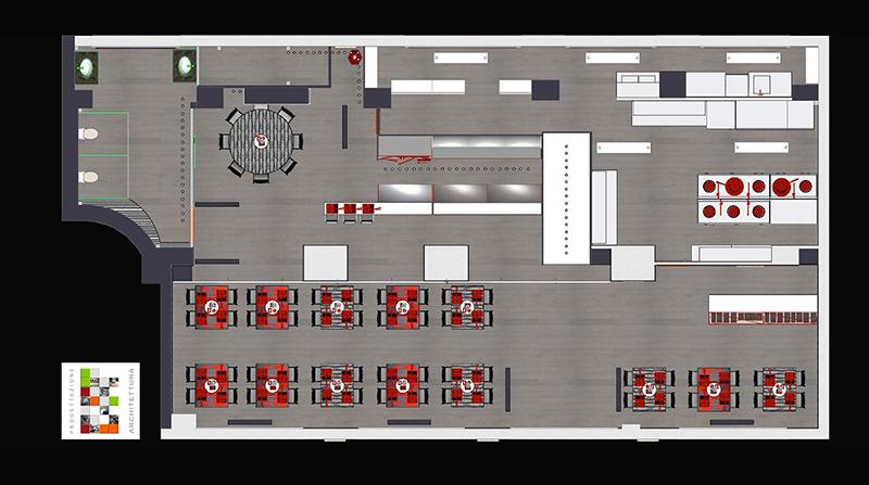Progetto arredamento ristorante cinese genova liguria for Arredamento cucina ristorante