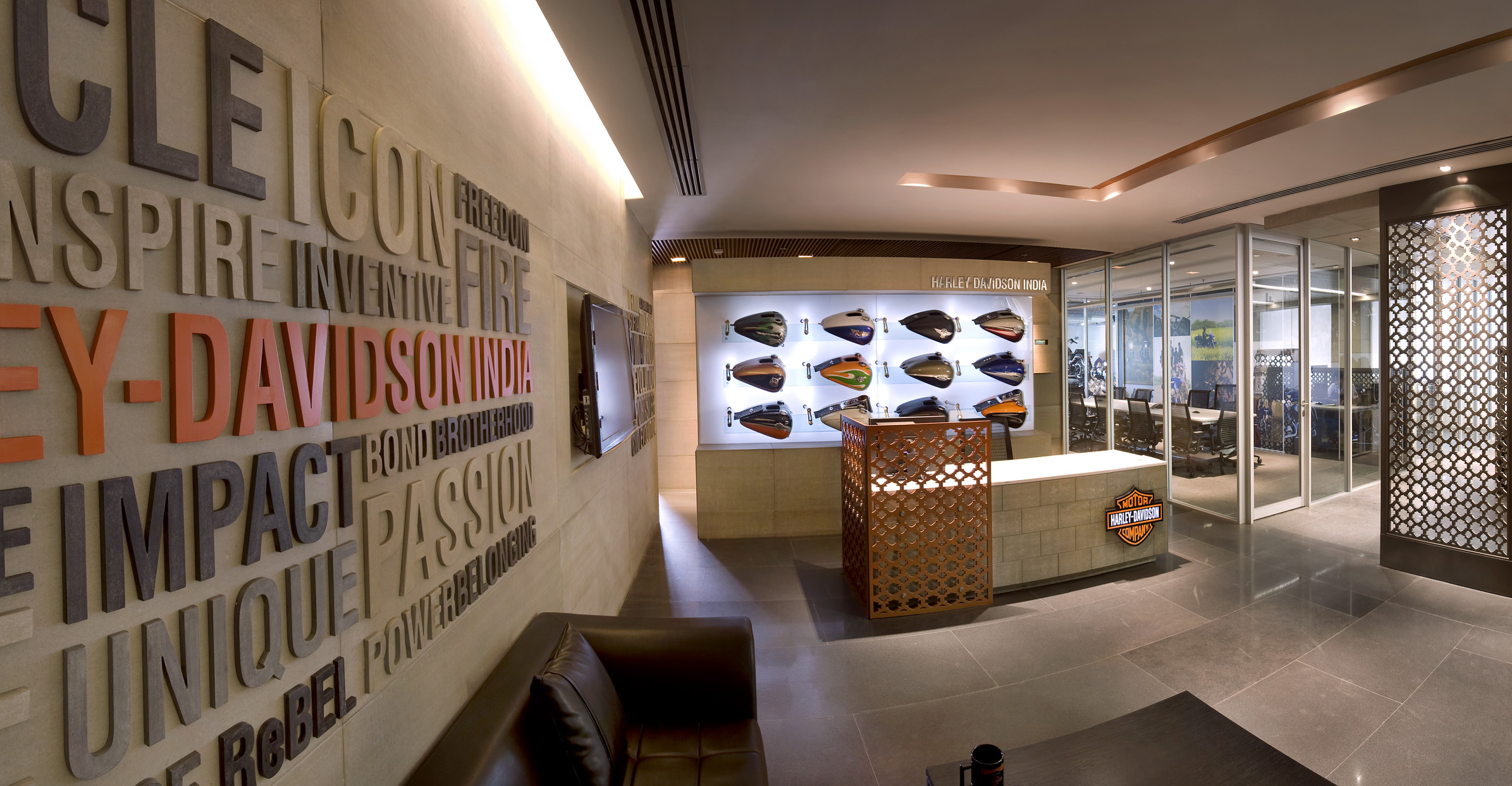 Harley davidson corporate office for Corporate office interior design