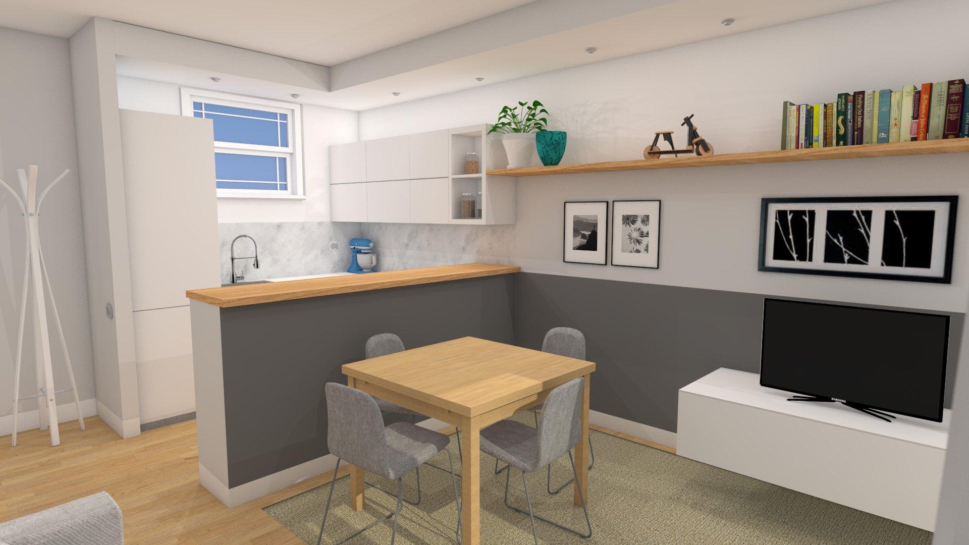 Piccolo soggiorno small living - Arredare sala con cucina a vista ...