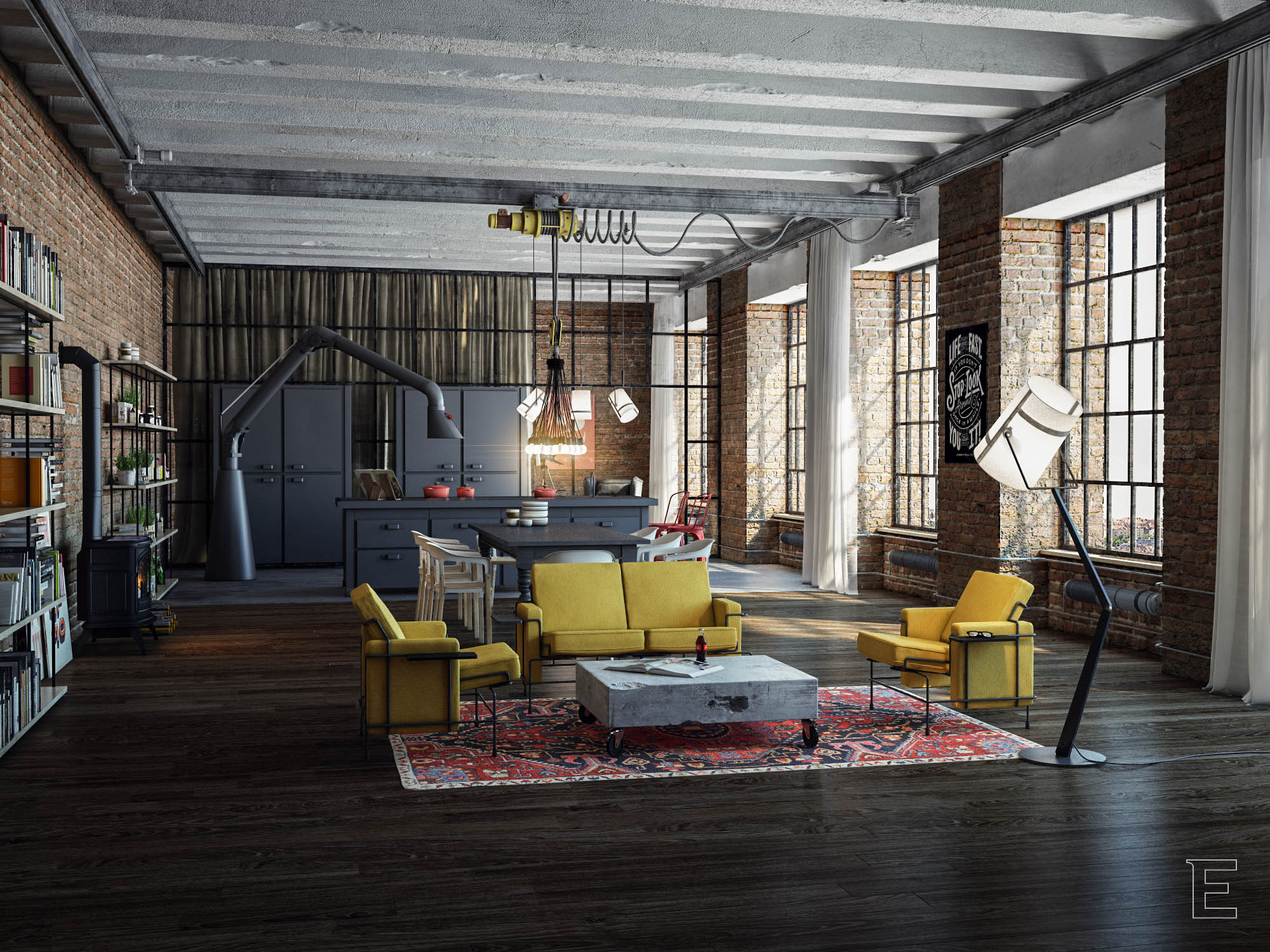 Industrial loft for Idee deco retro chic