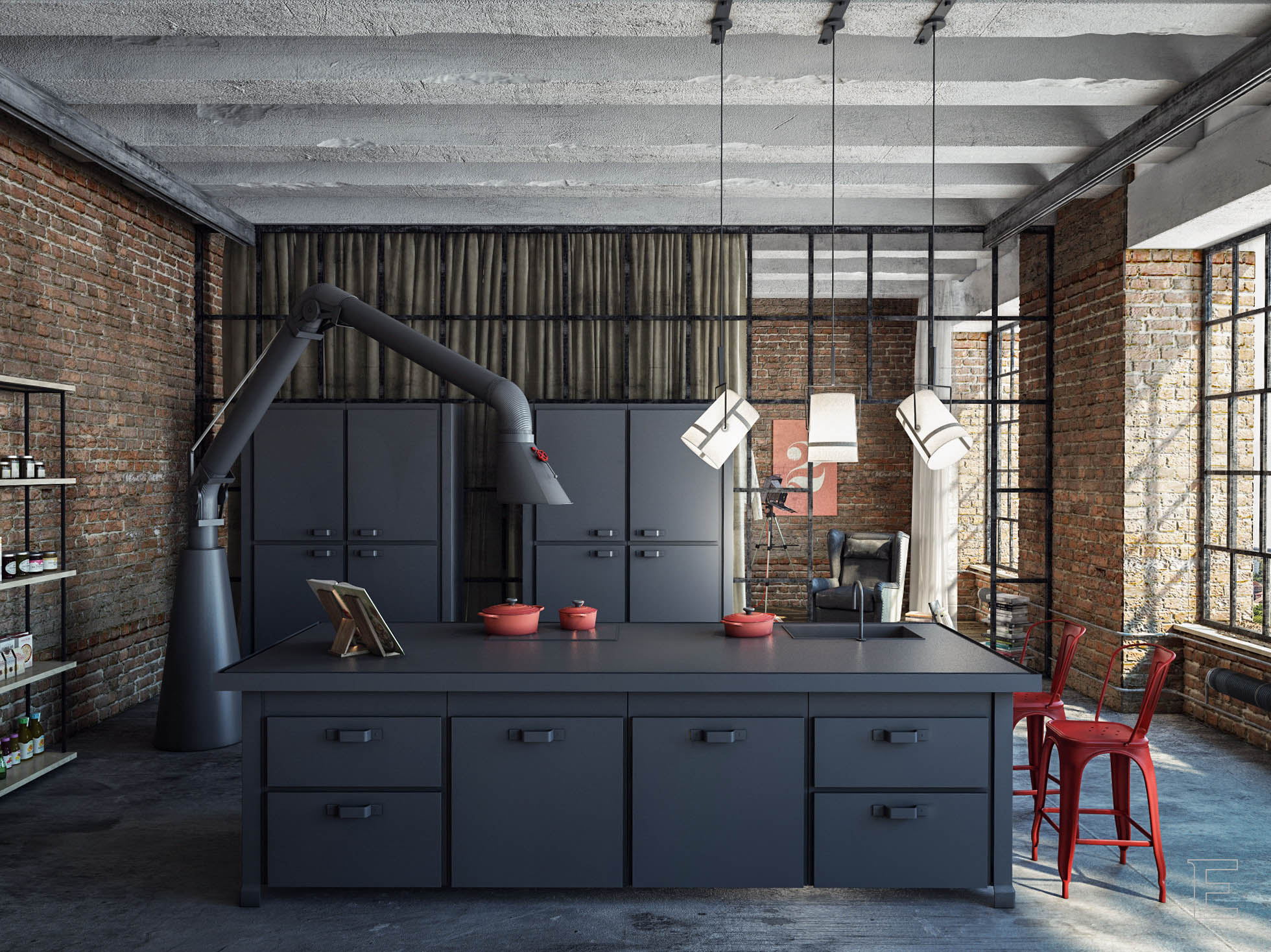 industrial loft. Black Bedroom Furniture Sets. Home Design Ideas