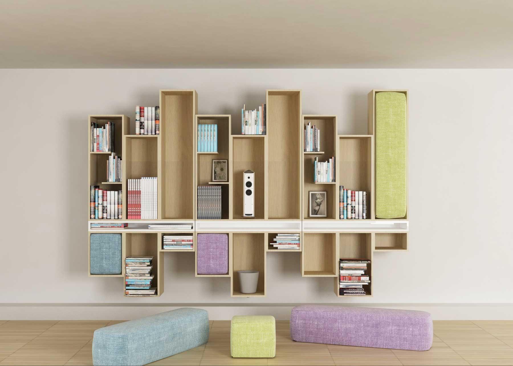 Libreria bifacciale componibile avec librerie componibili modulari